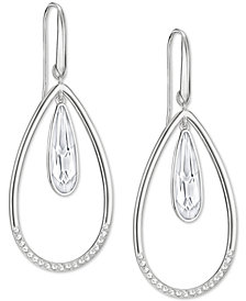 Swarovski Silver-Tone Crystal Orbital Drop Earrings