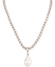 "Nina Gold-Tone Cubic Zirconia & Baroque  Pearl Braided Satin Pendant Necklace, 16"" + 3"" extender"