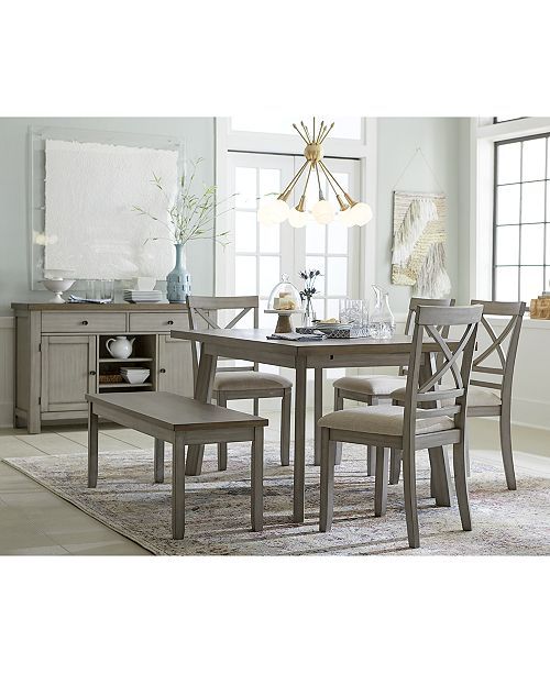 Fairhaven Dining Furniture, 6-Pc. Set (Table, 4 Upholstered Side Chairs &  Bench), Created for Macy\'s