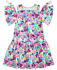Trolls by DreamWorks Cold-Shoulder Printed Dress, Little Girls