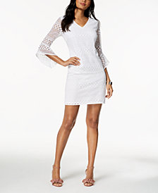 Alfani Bell-Sleeve Lace Shift Dress, Created for Macy's