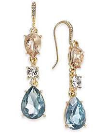 Charter Club Gold-Tone Multi-Stone Drop Earrings, Created for Macy's