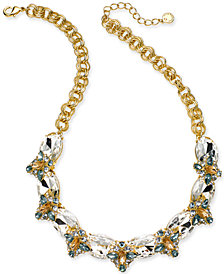 "Charter Club Gold-Tone Multi-Stone Multi-Link Collar Necklace, 17"" + 2"" extender, Created for Macy's"