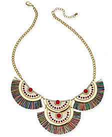 "Thalia Sodi Gold-Tone Stone, Bead & Fringe Statement Necklace, 18"" + 3"" extender, Created for Macy's"