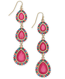 Thalia Sodi Gold-Tone Beaded Stone Teardrop Linear Drop Earrings, Created for Macy's