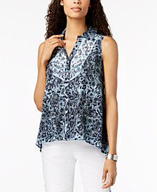 Style & Co Mixed-Print High-Low Top, Created for Macy's
