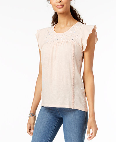 Style & Co Cotton Embroidered Peasant Top, Created for Macy's