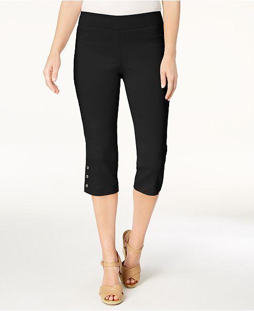 Deep Hem for Leg JM Collection Macy's Slim Capris Button Black Created xwgfgz