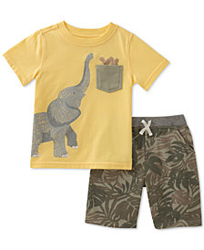 Kids Headquarters Baby Boys 2-Pc. Cotton Elephant T-Shirt & Printed Shorts Set