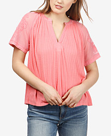 Lucky Brand High-Low Mixed-Media Top