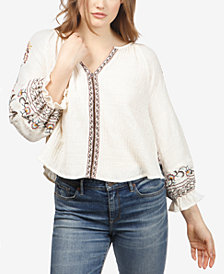 Lucky Brand Textured Embroidered Top