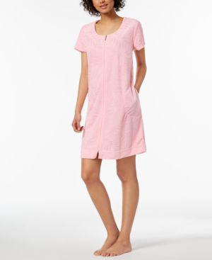 Miss Elaine Embossed-Leaf Knit Robe 6038422