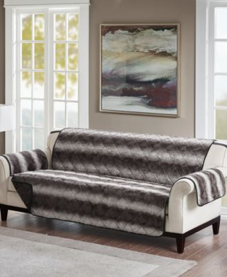 Zuri Reversible Tip-Dyed Faux-Fur Sofa Protector