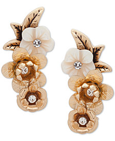 lonna & lilly Gold-Tone Crystal & Imitation Mother-of-Pearl Flower Climber Earrings