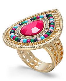 Thalia Sodi Gold-Tone Pavé, Stone & Bead Statement Ring, Created for Macy's
