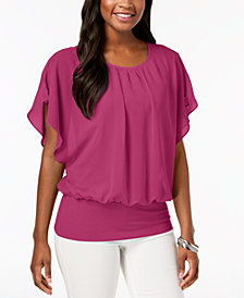 JM Collection Flutter-Sleeve Top, Created for Macy's