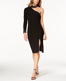XSCAPE Embellished One-Sleeve Sheath Dress