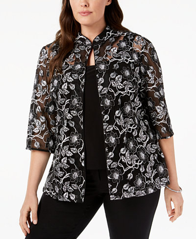 Alex Evenings Plus Size Embroidered Jacket & Shell