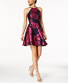 XSCAPE Printed Open-Back Fit & Flare Dress