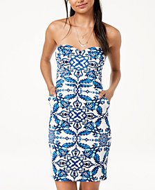 B Darlin Juniors' Printed Strapless Bodycon Dress
