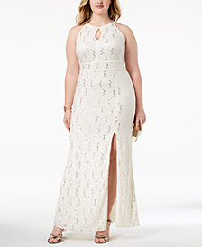 Morgan & Company Trendy Plus Size Lace Keyhole Gown