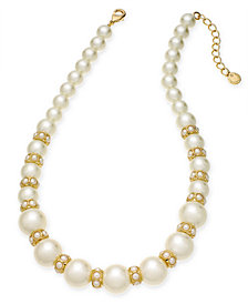 "Charter Club Gold-Tone Imitation Pearl Collar Necklace, 17"" + 2"" extender, Created for Macy's"