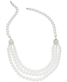 "Danori Silver-Tone Swarovski Imitation Pearl Multi-Strand 18"" Collar Necklace, Created for Macy's"