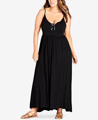 City Chic Trendy Plus Size Lace-Up Maxi Dress