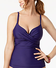 Island Escape Underwire Push-Up Tankini Top, Created for Macy's
