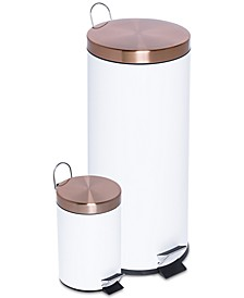 2-Pc. Round Soft-Close Combination Trash Can Set