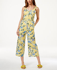 J.O.A. Floral-Print Lace-Up Jumpsuit