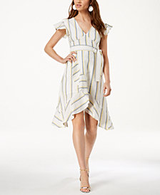 J.O.A. Striped Flutter-Detail Faux-Wrap Dress