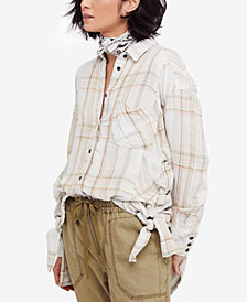 Free People Nordic Day Plaid Tie-Hem Shirt