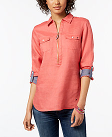 Tommy Hilfiger Linen Quarter-Zip Utility Shirt, Created for Macy's