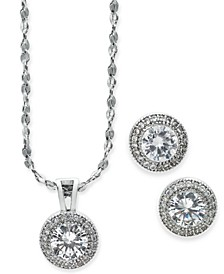 2-Pc. Set Crystal Halo Pendant Necklace and Stud Earrings Set, Created for Macy's