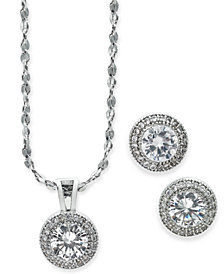Charter Club Silver-Tone 2-Pc. Set Crystal Halo Pendant Necklace and Stud Earrings Set, Created for Macy's