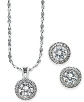 f5ea9470d Charter Club 2-Pc. Set Crystal Halo Pendant Necklace and Stud Earrings  Set