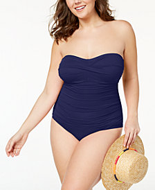 Lauren Ralph Lauren Plus Size Beach Club Underwire Bandeau Slimming Fit One-Piece Swimsuit
