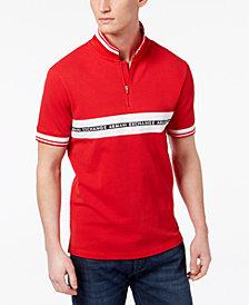 A|X Armani Exchange Men's Logo Striped Zip Polo, Created for Macy's