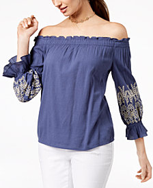 I.N.C. Bell-Sleeve Off-The-Shoulder Top, Created for Macy's