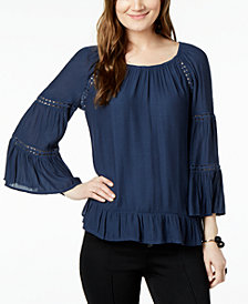 I.N.C. Ruffled Crochet-Trim Top, Created for Macy's