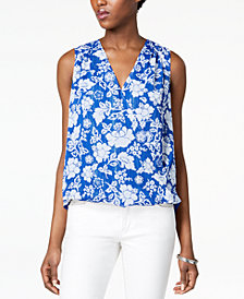 I.N.C. Floral-Print Faux-Wrap Top, Created for Macy's