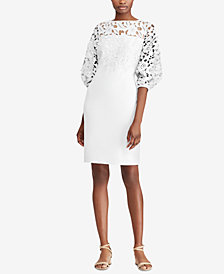 Lauren Ralph Lauren Petite Lace-Yoke Crepe Dress