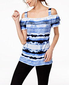 I.N.C. Striped Cold-Shoulder Top, Created for Macy's