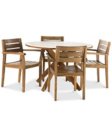 Nikos 5-Pc. Outdoor Dining Set, Quick Ship