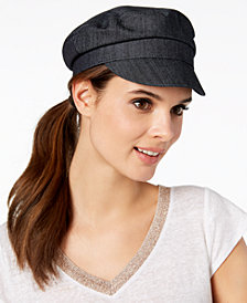 Nine West Cotton Canvas Newsboy Cap