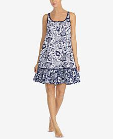 Lauren Ralph Lauren Classic Knits Botanical-Print Ruffle-Hem Nightgown