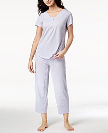 Charter Club Cotton Dotted Pajama Set, Created for Macy's