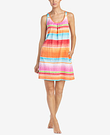 Lauren Ralph Lauren Fashion Knits Cotton Striped Nightgown