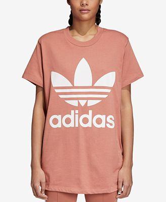 adidas adicolor cotone rilassato trifoglio t - shirt al massimo le donne macy's